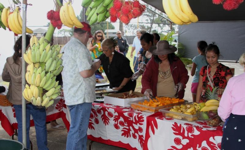 Groundbreaking attendees enjoy good food