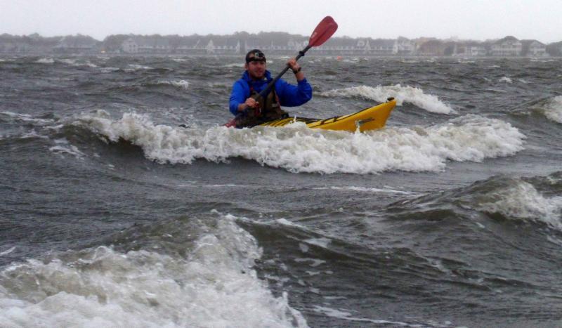 Josh paddling in wind