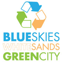 Blue Skies White Sands Green City
