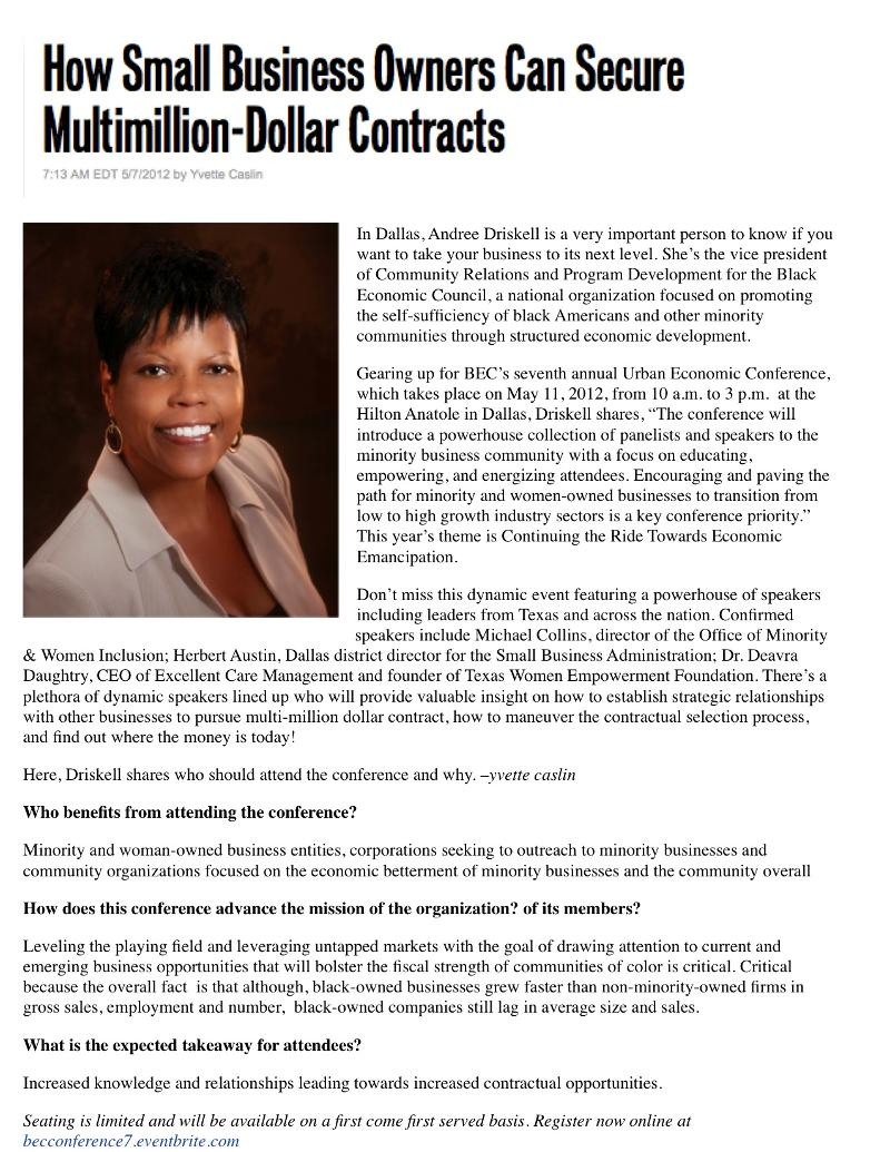 BEC News – Rollingout.com Article on the BEC's Upcoming Urban Economic Conference – Ft. the BEC's Vice President Andree Driskell