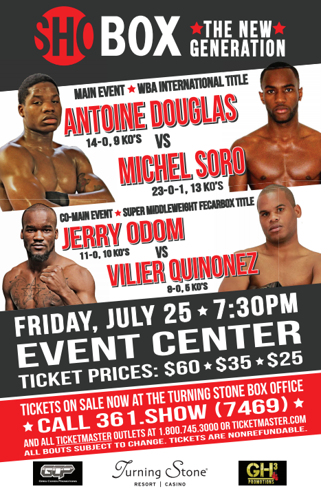 Undefeated Antoine Douglas takes on toughest for in Michel Soro this Friday night on Sho Box