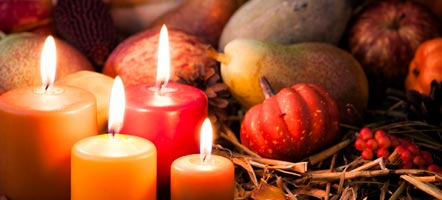 Fall candles with pumpkins photo long size