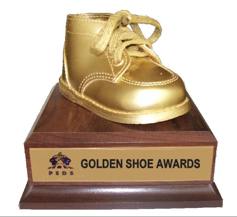 Golden Shoe on White Background