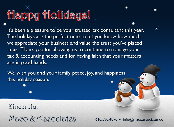Display this image for our holiday message