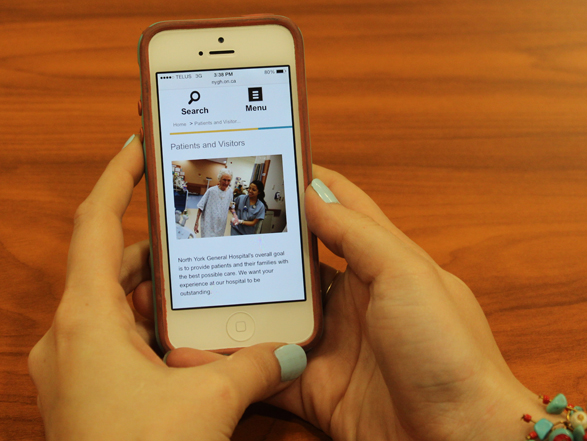 North York General Hospital's responsive website is user friendly for visitors on mobile phones.