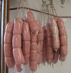 Fresh hanging sausages