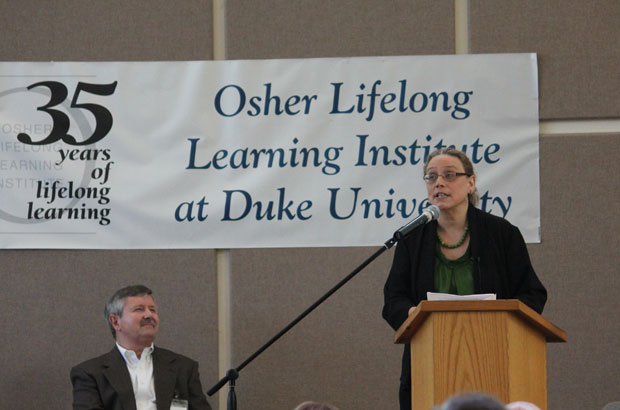 Duke University dean speaking at OLLI at Duke's 35th anniversary celebration