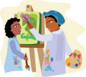 Illustration of painters at easel