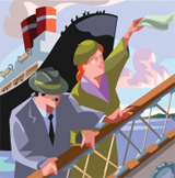 Illustration of couple onboard cruise ship