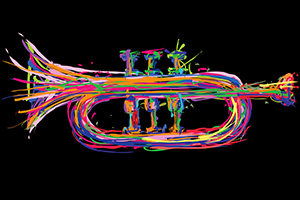 colorful drawing of a trumpet