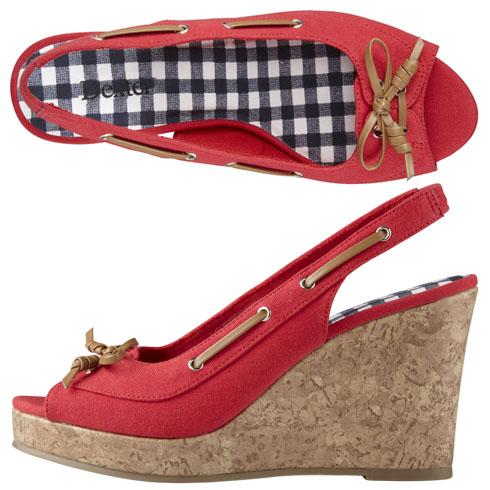 red cork heel