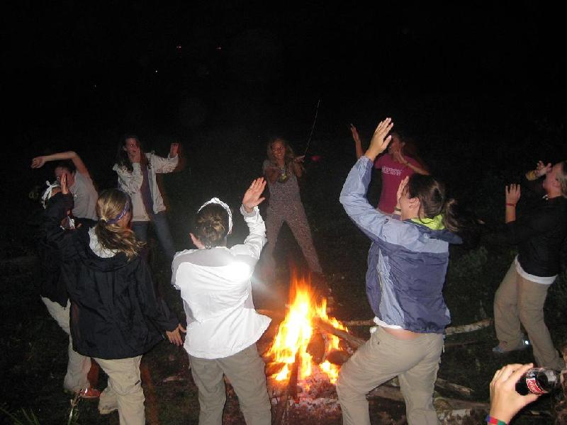 Dancing around the bonding fire.