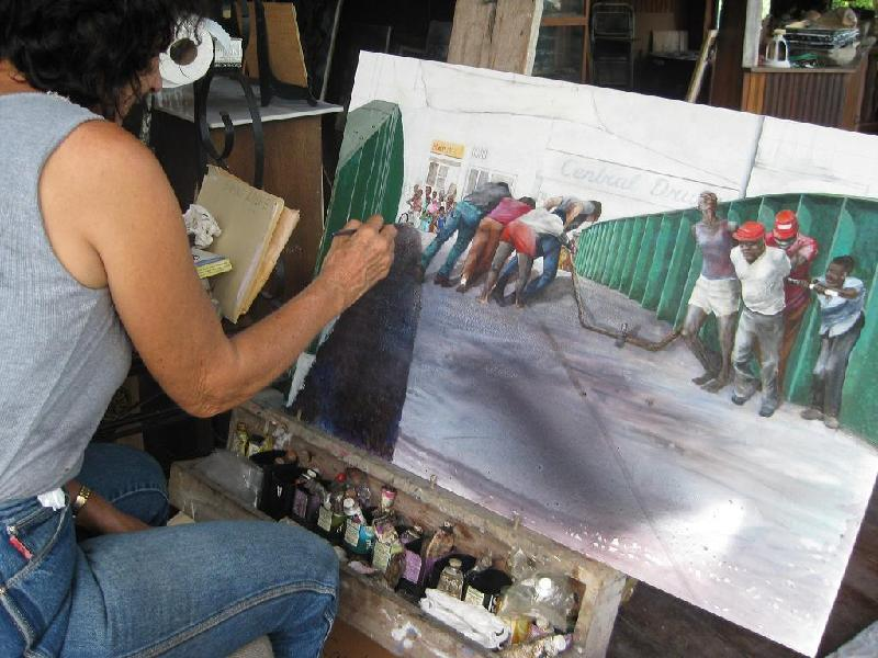 Carolyn Carr at work on Swing Bridge painting