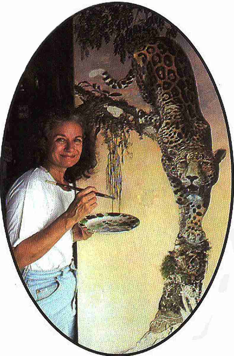 Carolyn Carr applying final touches to Jungle Dawn