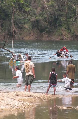 Some of the first arrivals of the Ruta Maya Canoe Race 2009