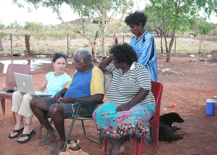 Dr. Kimberly Christen Withey consults with Michael Jampin Jones_ an elder from the Warumungu Aboriginal community in Tennant Creek_ Australia_ who initiated the original project and named the archive Mukurtu.