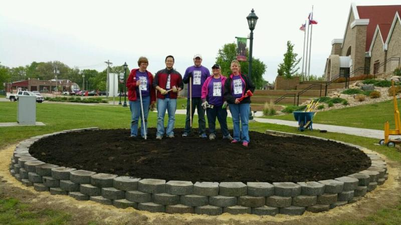 United Way Day of Caring volunteers helped create the new heritage garden.