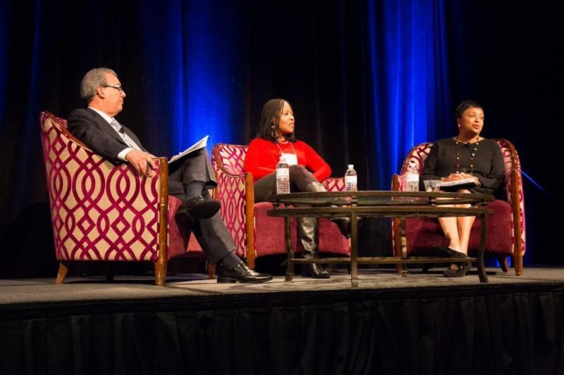 Plenary panel with Luis Herrera_ Melanie Adam_ and Carla Hayden.
