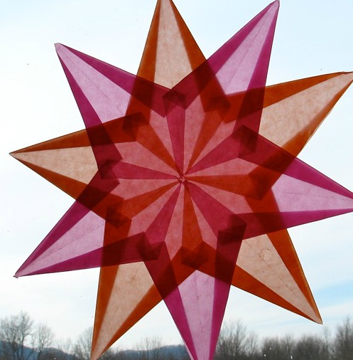 red folded paper star