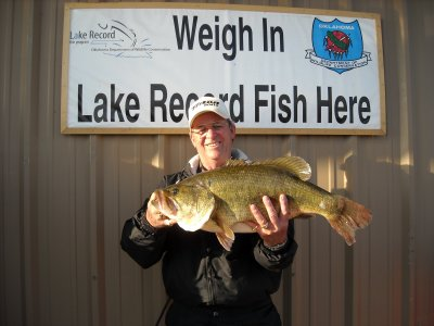 Royce Harlan of Kingston landed this new lake record largemouth bass at Texoma Lake. The fish, which Harlan released, tipped the scales at more than 12 pounds.