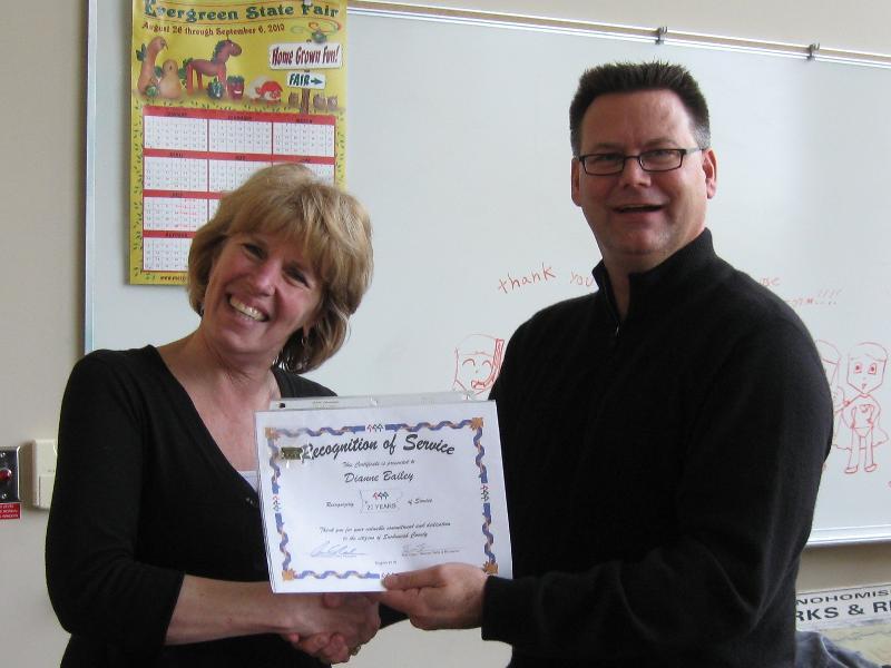 Dianne Bailey - 20 service award
