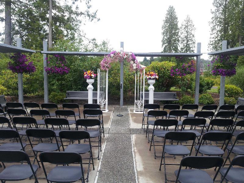 Wedding setup on patio at Willis Tucker Park