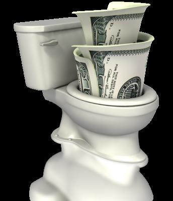 money in toilet