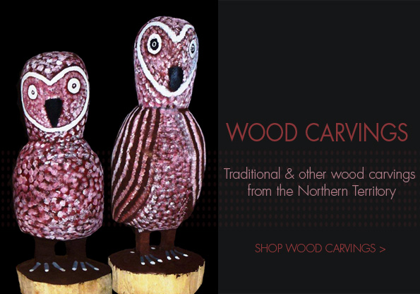 Wood carvings at the Aboriginal Art Directory Gallery