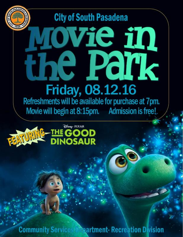 Movie in the Park featuring _The Good Dinosaur - Friday_ August 12_ 2016 at 8_15 pm - Admission is Free