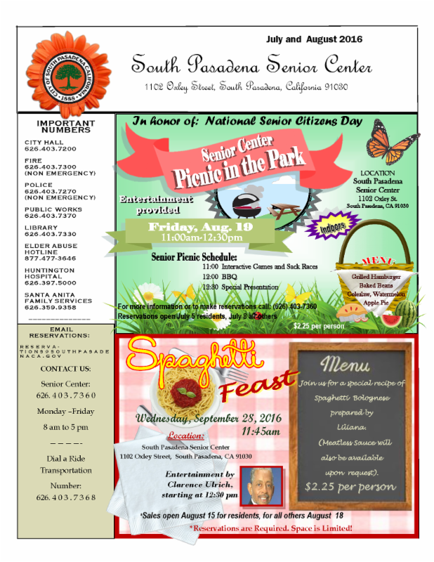 South Pasadena Senior Center July and August 2016 Newsletter