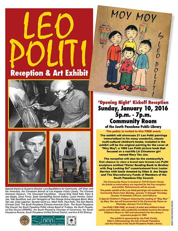 Leo Politi Reception and Art Exhibit - Sunday_ January 10_ 2016 - 5 p.m. to 7 p.m. - Library Community Room_ 1115 El Centro Street