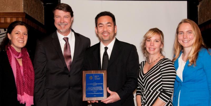 Deputy Public Works Director Shin Furukawa_ third from left_ receives an award at the CWEA Award Ceremony on January 23_ 2016