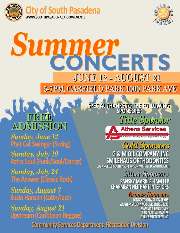 Summer Concerts - Sundays_ July 10 and July 24 - 5pm to 7pm - Garfield Park_ 1000 Park Avenue