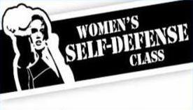 Women_s Self-Defense Class Logo - Woman in a fighting stance against a black background