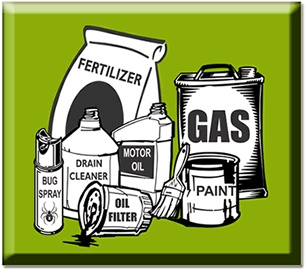 Picture of hazardous waste such as gas_ fertilizer_ and paint on a green background