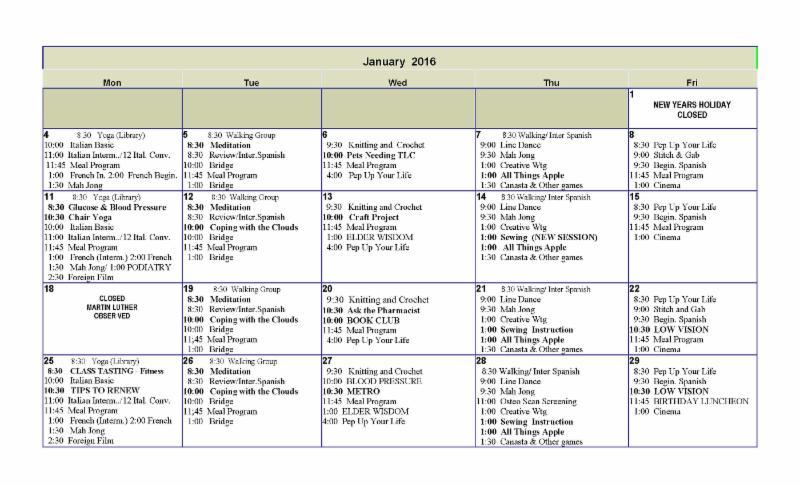 January 2016 Senior Center Event Calendar