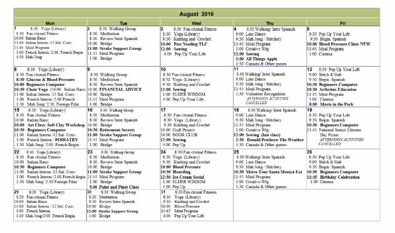 South Pasadena Senior Center August 2016 Activity Calendar