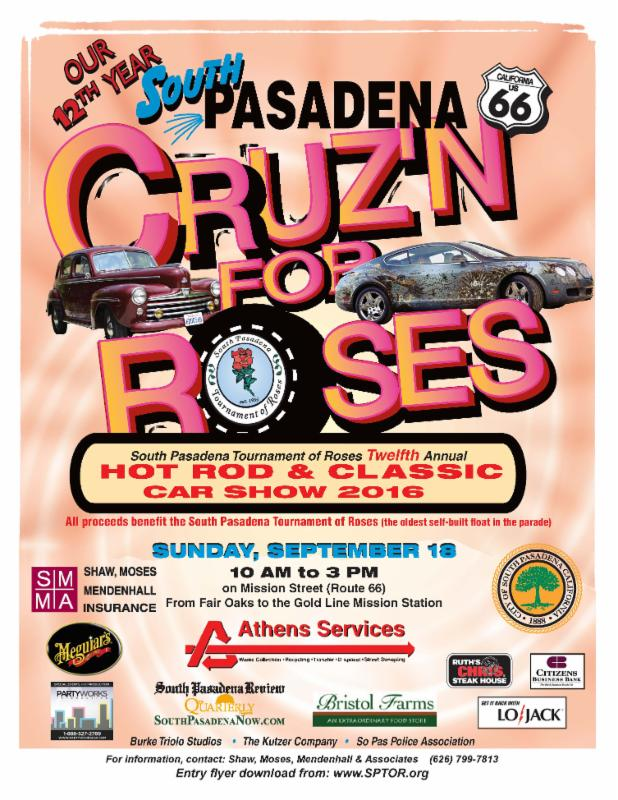 Cruz_n for Roses Car Show - Sunday_ September 18_ 2016 - 10 am to 3 pm - Mission Street from Fair Oaks to the Meridian Gold Line Station