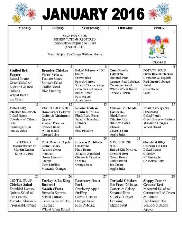 January 2016 Senior Center Meal Program Menu