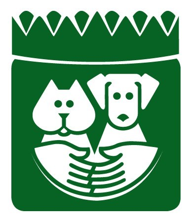Paasadena Humane Society Logo - White Dog and Cat with white hands hugging themon a green background