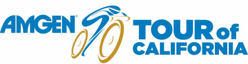 Amgen Tour of California Logo - A blue cyclist riding a gold bicycle on a white background.