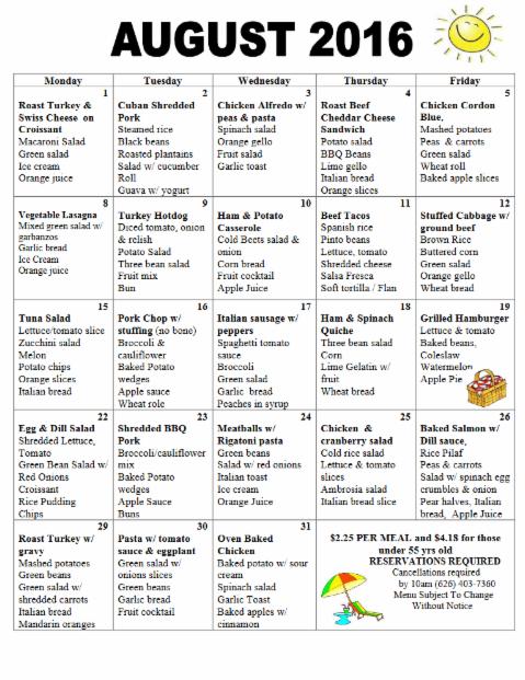 South Pasadena Senior Center Daily Meal Program Menu
