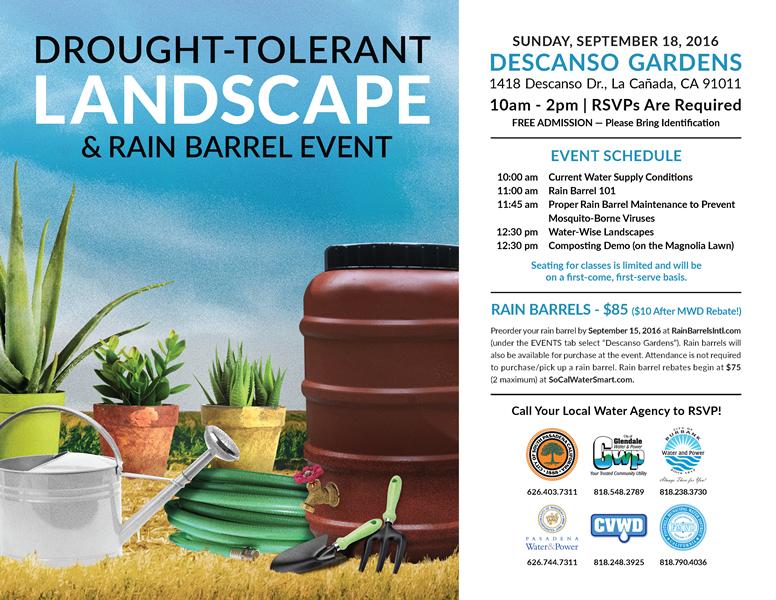Drought-Tolerant Landscape and Rain Barrel Event - Descanso Gardens_ 1418 Descanso Drive_ La Canada Flintridge - 10 am to 2 pm - RSVPs are required