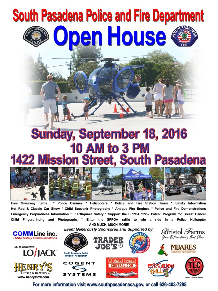 South Pasadena Police and Fire Open House - Sunday_ September 18_ 2016 from 10 am to 3 pm - 1422 Mission Street