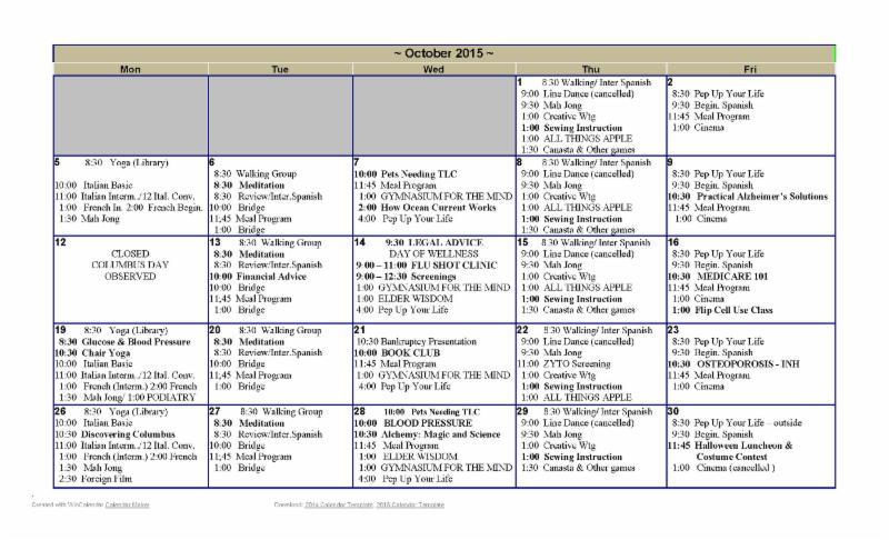 February 2016 Senior Center Activity Calendar