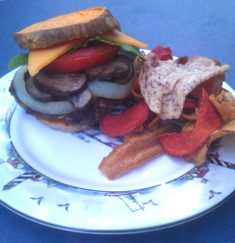 burger with sweet potato bun