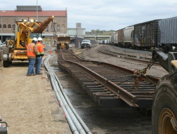Rail construction at Union Depot
