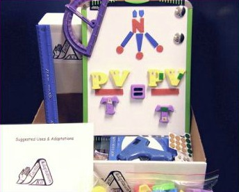 Photo of a collection of items from the tactile adaptation kit including a magnetic white board with magnets, glue gun, protractor, ruler, suggested adaptation guide.