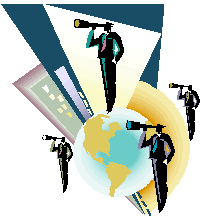 Graphic of business people looking through telescopes with earth and buildings behind them.