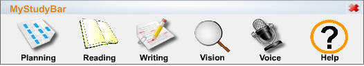 MyStudyBar tool bar graphic with icons for planning, reading, writing, vision, voice, and help.